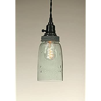 Glass jar pendant light Clear Colonial Tin Quart Open Bottom Mason Jar Pendant Lamp In Weathered Galvanizedlight Apple Green Recycled Glass Barn Roof Gray Lid Amazoncom Quart Open Bottom Mason Jar Pendant Lamp Rustic Brown Ceiling
