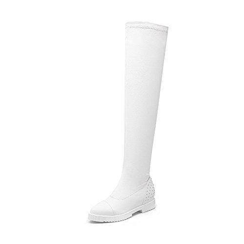 Allhqfashion Women's Pull-On Kitten-Heels PU Solid High-Top Boots White