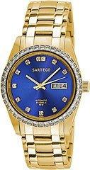 Sartego Men's SGBL08 Classic Analog Blue Face Dial Gold Tone Swarovski Watch