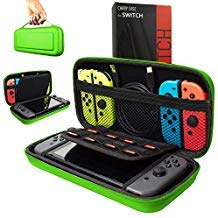 Orzly Carry Case Compatible With Nintendo Switch - GREEN Protective Hard Portable Travel Carry Case Shell Pouch for Nintendo Switch Console & Accessories ()