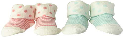 Carter's Baby Girls Dot & Stripe Socks 2 Pack, pink/teal 1, Newborn