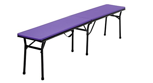 COSCO 6 ft. Indoor Outdoor Center Fold Tailgate Bench with Carrying Handle, Purple Bench Top, Black Frame, 2-pack (Top Furniture)