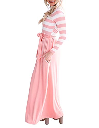Loose Dress Haola with Long Womens Maxi Striped Casual Pink Vintage Waistband Pockets Dress Sleeve wxvxn0H