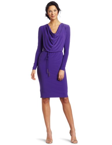 Jones New York Women's Mj Cowl Neck Tie Belt Dress