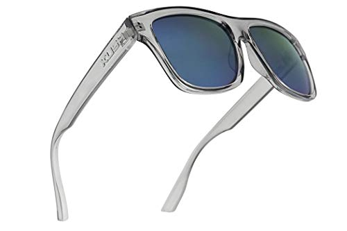 (Kush Classic Square Transparent Frame Sunglasses Mirrored Retro Sport Fashion Shades (Clear Grey Frame | Blue))