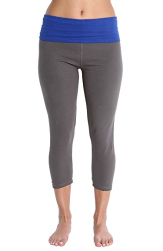 Nouveau Women's Workout Active Capri Yoga Pant with Contrasting Color Waistband Casual Loungewear - Gray W. Blue Waist Band, Large