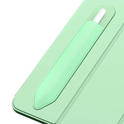 MoKo Pencil Case Holder Sticker Fit Apple Pencil 1st & 2nd, Elastic Pencil Pouch PU Leather Adhesive Sleeve Fit iPad 8th Gen 2020/7th Gen 10.2/iPad Air 4th Gen/iPad Pro 11 & 12.9 2020 - Green