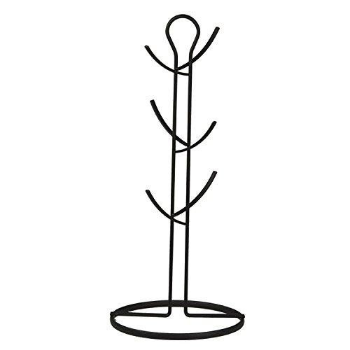 Home Basics Chrome Wire Collection Mug Tree, Black