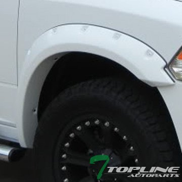 Topline Autopart Matte Black Pocket Rivet Style Fender Flares Kit Wheel Cover 09-16 Dodge Ram 1500