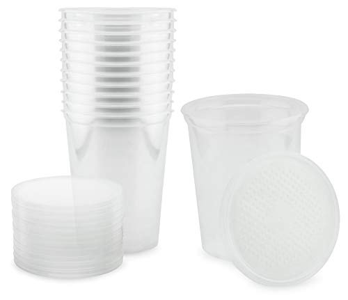 (Cornucopia Brands Insect Containers Fruit Fly Culture Cups (12-Pack); with Vented Fabric Lids)