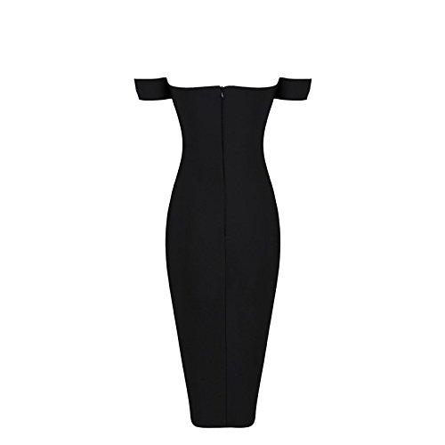 HLBandage Off The Shoulder Halter Neck Knee Length Bandage Dress Negro