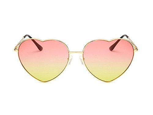 Hellomiko soleil UV de forme La UV polarisé mode rétro Jaune métal Rose coeur la lunettes a et de protection en de de qq0rawFx