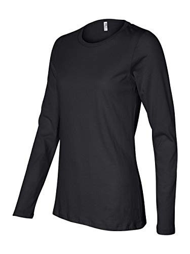 Bella 6450 Ladies Relaxed Jersey Long-Sleeve Tee - Black, Medium