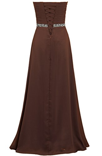 for Evening Long Dresses Brown ANTS Women's Party Strapless Chiffon qwv4xxXgp