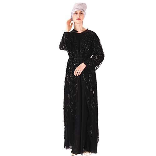 B2keevin Muslim Women Dress Islamic Long Sleeve Maxi Abaya Kaftan Arab Clothes Black