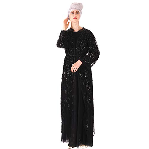 (Sunyastor Muslim Women Dress Muslim Islamic Long Sleeve Sequins Embroidered Sheer Lace Maxi Open Abaya Kaftan Arab Cardigan)