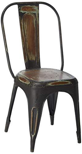 - Yosemite Home Decor YFUR-14-SHC17 Iron Tolix Chair in Iron-Blue Crackle Finish