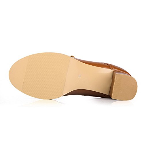Pumps VogueZone009 Toe PU Womens Round Kitten Soft Material Heels Bandage with Brown Solid qqzOH