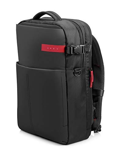HP OMEN – Mochila para portátiles gaming de hasta 17.3″ (bolsillos internos, malla ajustable, espalda acolchada), color negro y rojo