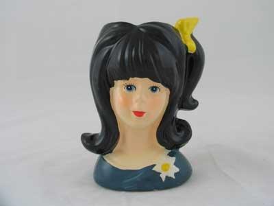 Teenage Girl Lady Head Vase Blue Dress Yellow Bow - Little Vase Girl Head