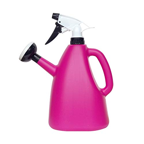 - THE SAFETY ZONEY 2 in 1 Watering Can with Sprayer Water Spray Bottle Watering Pot Water Trigger Garden Accessory Sprayers Multifunction Watering Can - 1000ML (Pink)