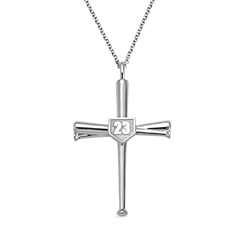 AILIN Cross Necklace Baseball Bats Athletes Cross Pendant Sports Number Or Initial Necklaces Gifts for Men Women Teen Boys Girls Silver Size 22