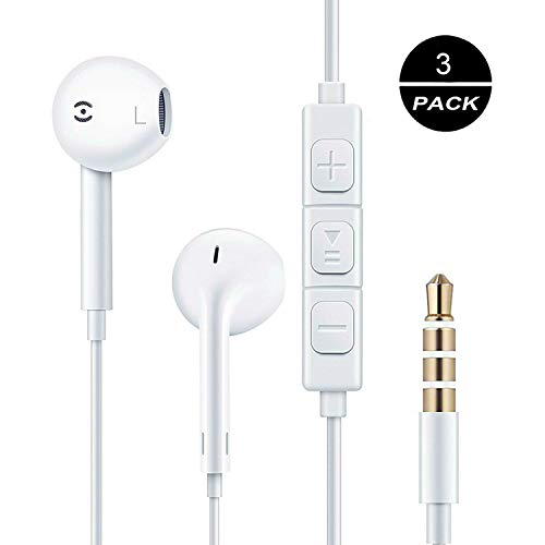 3PACK Wired Earphones Universal Headset with Microphone Stereo Headphones and Noise Isolating Headset,White in-Ear Headset Compatible iPhone iPod iPad – White