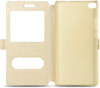 Silk Texture Horizontal Flip Leather Case with Caller ID Display & Holder for Huawei P8 Lite(Gold)