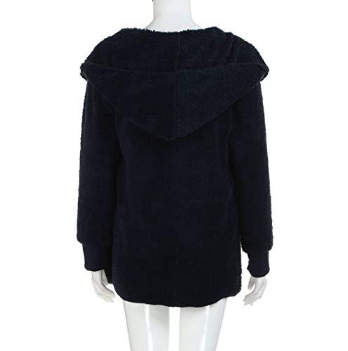 C Up Hiver Casual Womens Sherpa Chaud Zip Manteau Fnkdor Fausse Outwear Gilet Fourrure Hoodie Marine Veste Pq6YACw
