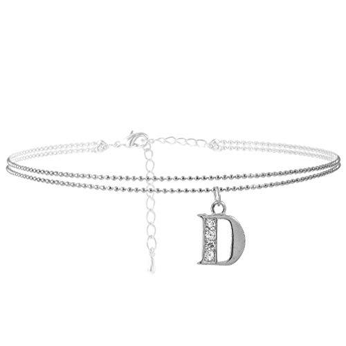 SpinningDaisy Double Line Rhinestone Crystal Initial Anklet -Perfect for Summer - (D-Silver)