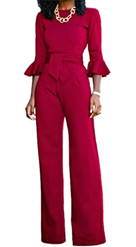 Corala Women Solid Long Sleeve Wide Leg Long Jumpsuits Romper Pants With Belt