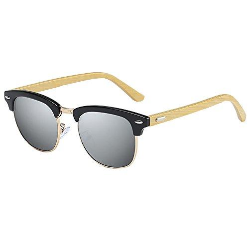 Di Da Sole Semi Polarizzati Bambù Rimless Occhiali Argento cF1KlTJ3