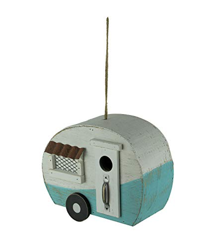 Direct International Wooden Retro Camper Trailer Hanging Birdhouse, Blue