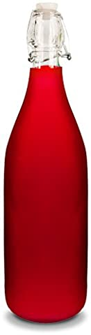 Glass Water Bottle - Frosted Red Color - Holds 1 Liter/33 Oz of Liquid - Swing Top Secure Stopper - Butterfly Perfume Stopper Bottle