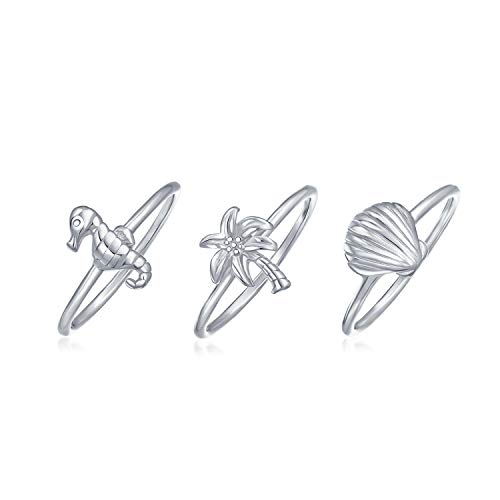 Bling Jewelry Nautical Seahorse Seashell Stackable Midi Ring Set Sterling Silver,Grey,6 ()
