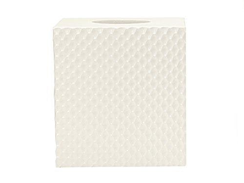Tissue Box Cover Tissue Box Holder Bathroom Decor White Textured Resin Square