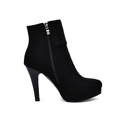 Suede High Closed Solid Women's Boots Imitated Black Toe Round Zipper Heels AmoonyFashion q8w46nF1x