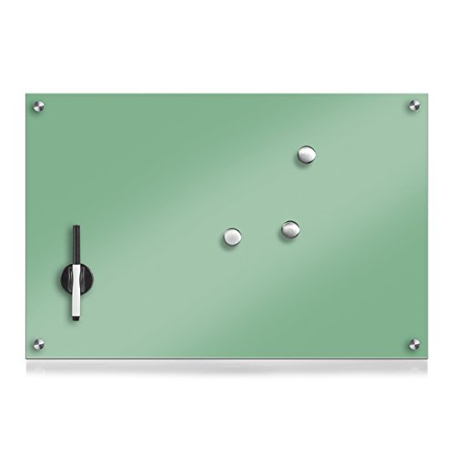 Zeller Black Glass Notice Board 60 x 40 x 1 cm Mint Green by Zeller (Image #1)
