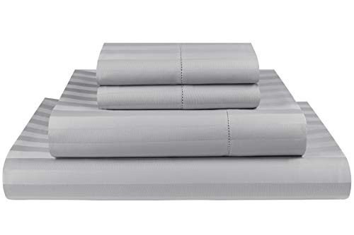(Threadmill Home Linen 500 Thread Count Damask Stripe Cotton Sheets 100% ELS Cotton, Hem Stitch Luxury 4 Piece Bed Sheet Set, Fits Mattresses up to 18 inches deep, Smooth Sateen Weave, Queen, Silver)