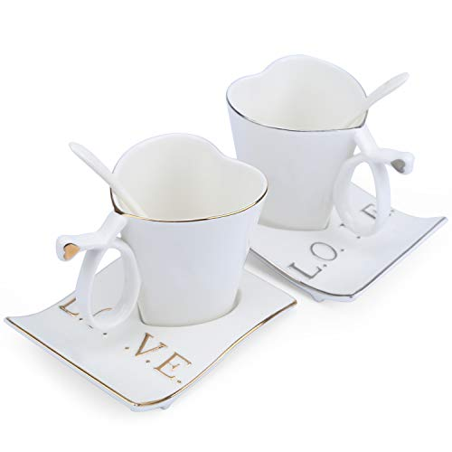 Imarku Ceramic Coffee/Milk/Tea Mugs, Couple Cups Creative Heart-Shaped White Cup Set with Spoons-Gift for Lovers