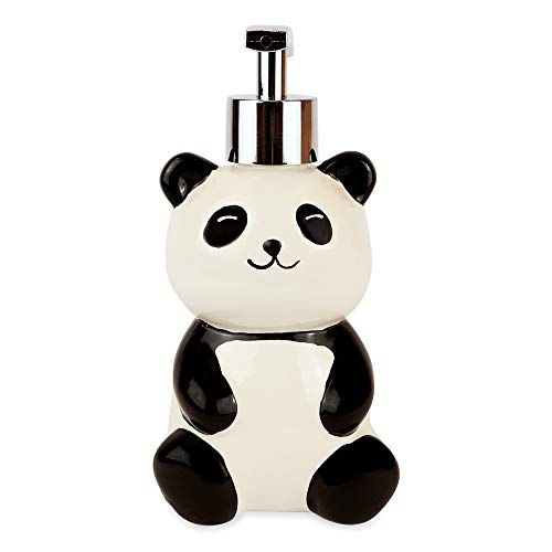 Isaac Jacobs Black and White Ceramic Panda Bear, Liquid Soap Pump/Lotion Dispenser with Chrome Metal Pump (Holds Up to 12 Oz) - Great for Bathroom, Kitchen Countertop, Bath Accessory (Panda)