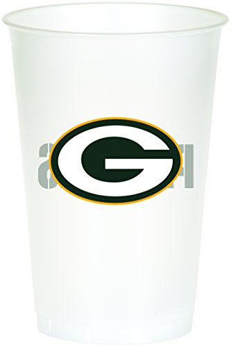 Creative Converting Officially Licensed NFL Printed Plastic Cups, 8-Count, 20-Ounce, Green Bay Packers - Nfl Football Plastic Cup