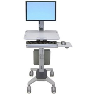 Ergotron, Workfit C-Mod Single Display Sit-Stand Workstation Cart For Lcd Display / Keyboard / Mouse / Cpu Plastic, Aluminum, Steel Two-Tone Gray Screen Size: Up To 22