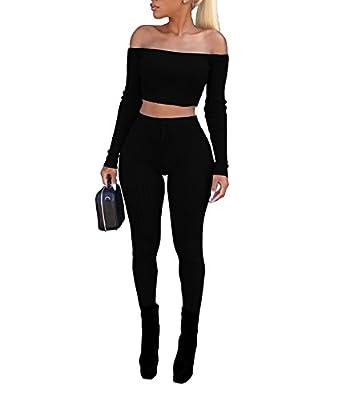 Vamvie Women's Sexy 2 Pieces Off Shoulder Long Sleeve Crop Top+Long Pant Bodycon Jumpsuit Skinny Romper