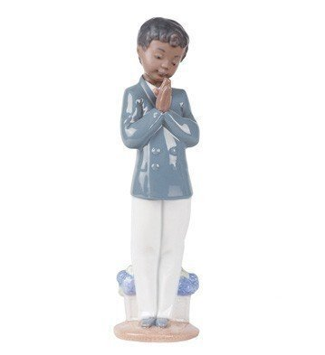 Praying Boy Porcelain - Nao by Lladro Collectible Porcelain Figurine: SUNDAY SCHOOL boy praying - 8 3/4
