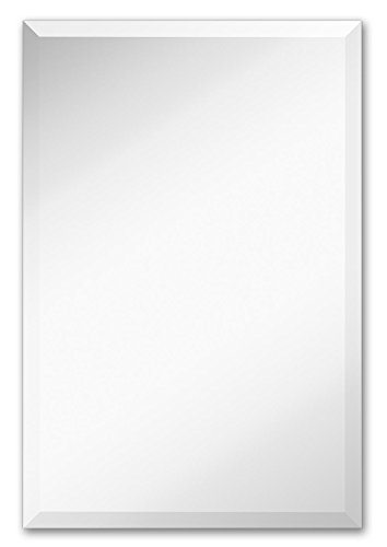 Large Simple Rectangular Streamlined 1 Inch Beveled Wall Mirror | Premium Silver Backed Rectangle Mirrored Glass Panel Vanity, Bedroom, or Bathroom Hangs Horizontal & Vertical Frameless (20