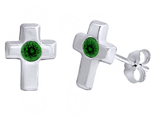 Simulated Emerald Single Stone Cross Stud Earrings 14K White Gold Over Sterling Silver (Simulated Cross Stone)