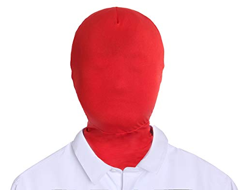 Adult Unisex Lycra Spandex Zentai Mask Full Head Cover Hood (Red)