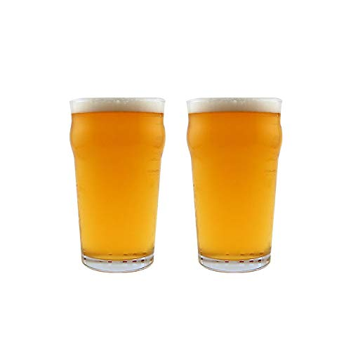 KegWorks Authentic British Style Imperial Pint Glass with Etched Seal - 2 Pack