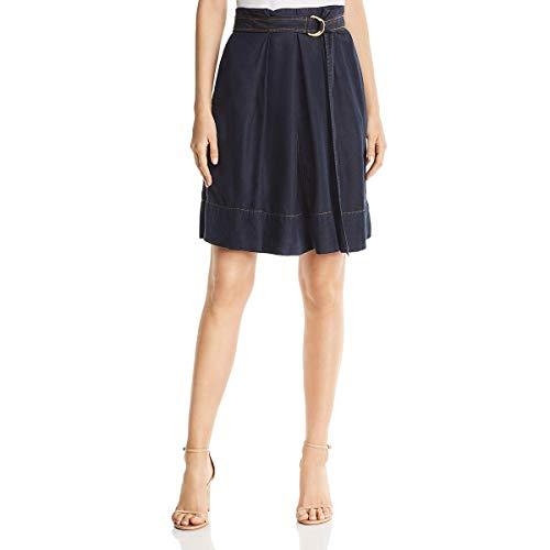 (Donna Karan Womens Belted Knee-Length A-Line Skirt Blue)